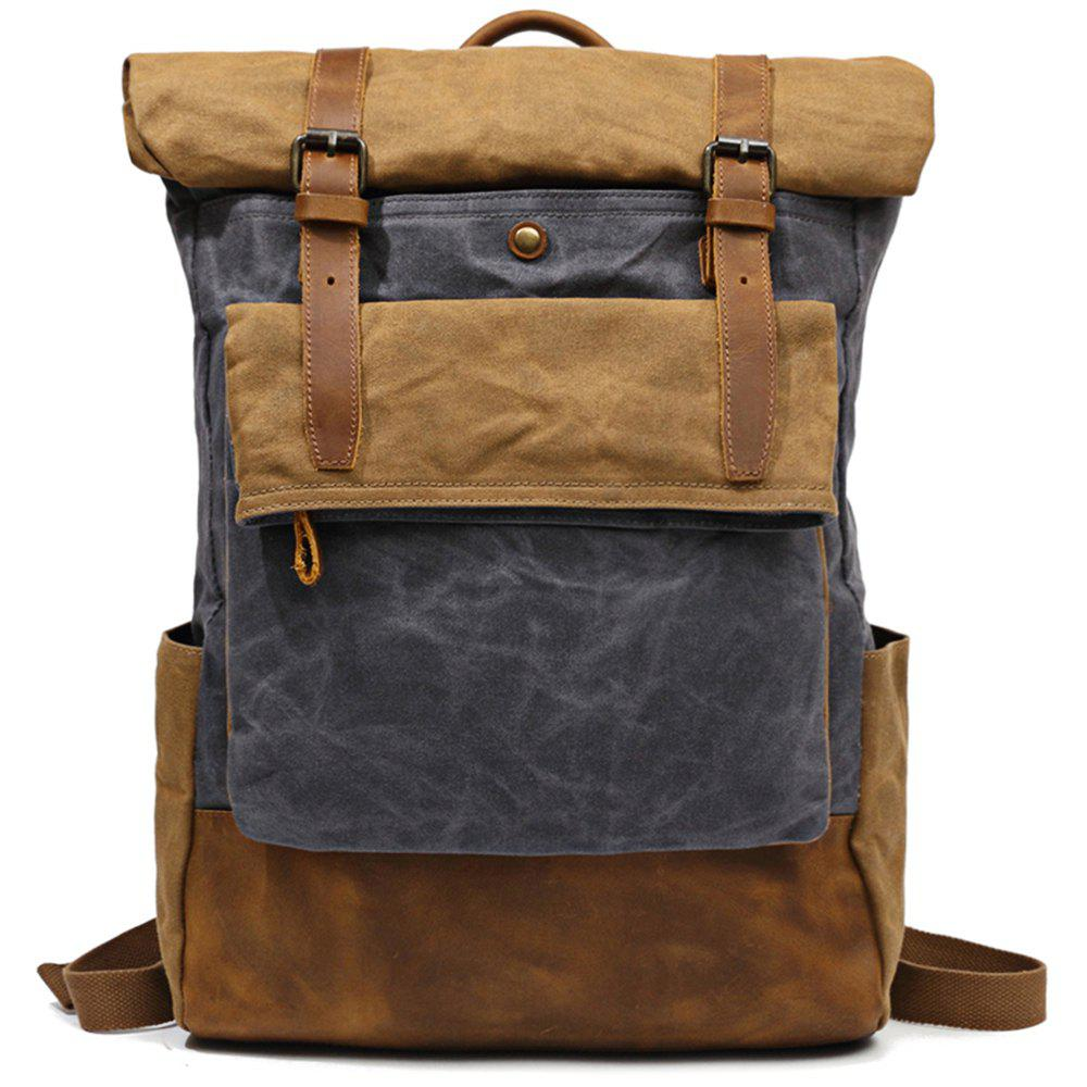 Fancy LOUISJASON Casual Fashion Oil Wax Canvas Outdoor Mountaineering Bag ba9f96b1dc414