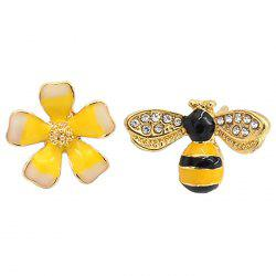 Korean Personality Temperament Asymmetric Flower Bee Stud Simple Female Elf Earrings -