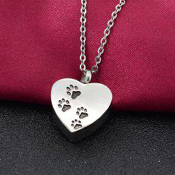 Heart-shaped Pet Dog Claw Footprints Urn Box Necklace Commemorate Loved Hair Pendant -