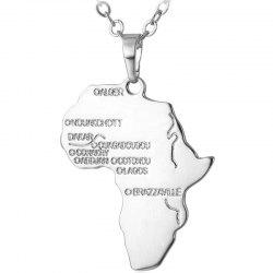 P873 Simple Africa Map Pendant Necklace -