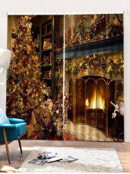 2PCS Christmas Theme Printed Window Curtains -