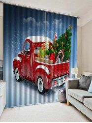 2PCS Christmas Gift Car Printed Window Curtains -
