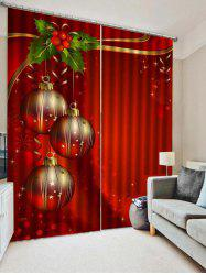 2PCS Christmas Ball Leaf Printed Window Curtains -