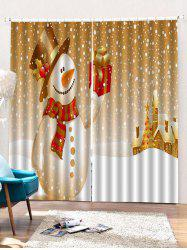 2PCS Christmas Snowman Gift Printed Window Curtains -