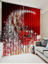 2PCS Father Christmas Deer Printed Window Curtains -