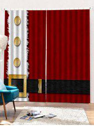 2PCS Father Christmas Clothing Printed Window Curtains -