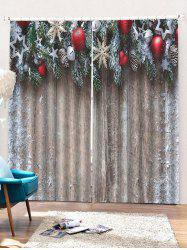 2PCS Christmas Wooden Star Printed Window Curtains -