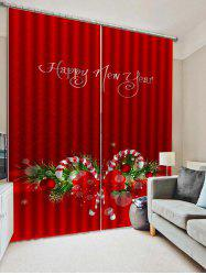 2PCS Christmas Candy Cane Printed Window Curtains -