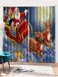2PCS Father Christmas Deer Window Curtains -