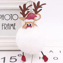 Christmas Moose Hair Ball Key Ring Pendant -