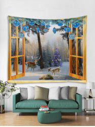 Window Christmas Forest Print Tapestry Wall Hanging Decoration -