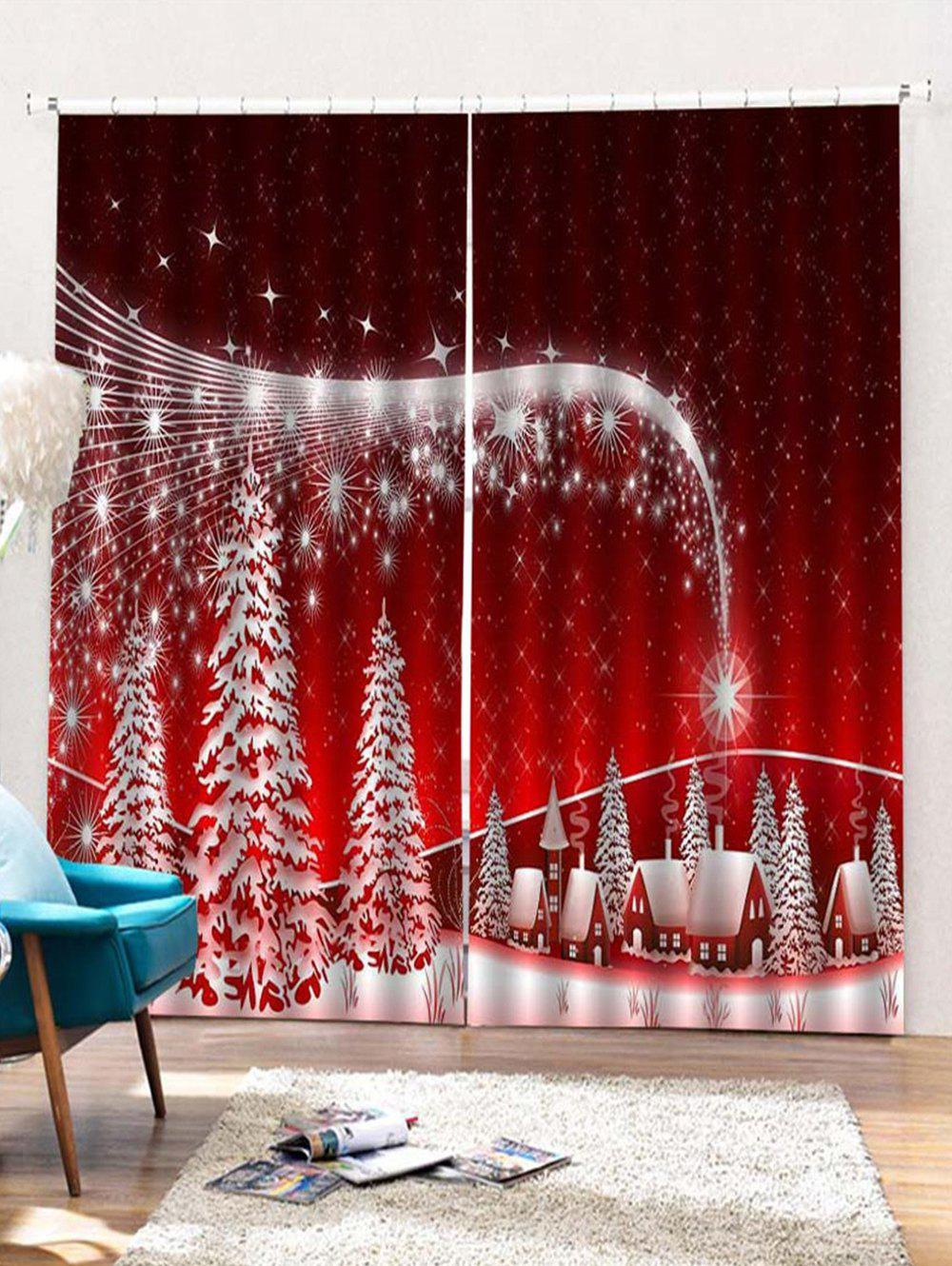 Store 2PCS Christmas Star Printed Window Curtains