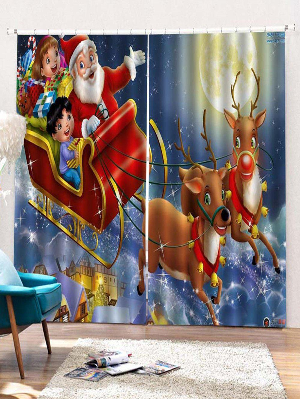 Fashion 2PCS Father Christmas Deer Window Curtains