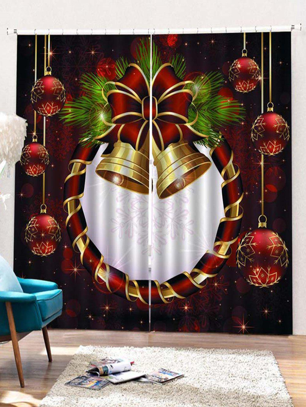 Online 2PCS Christmas Ball Bell Printed Window Curtains