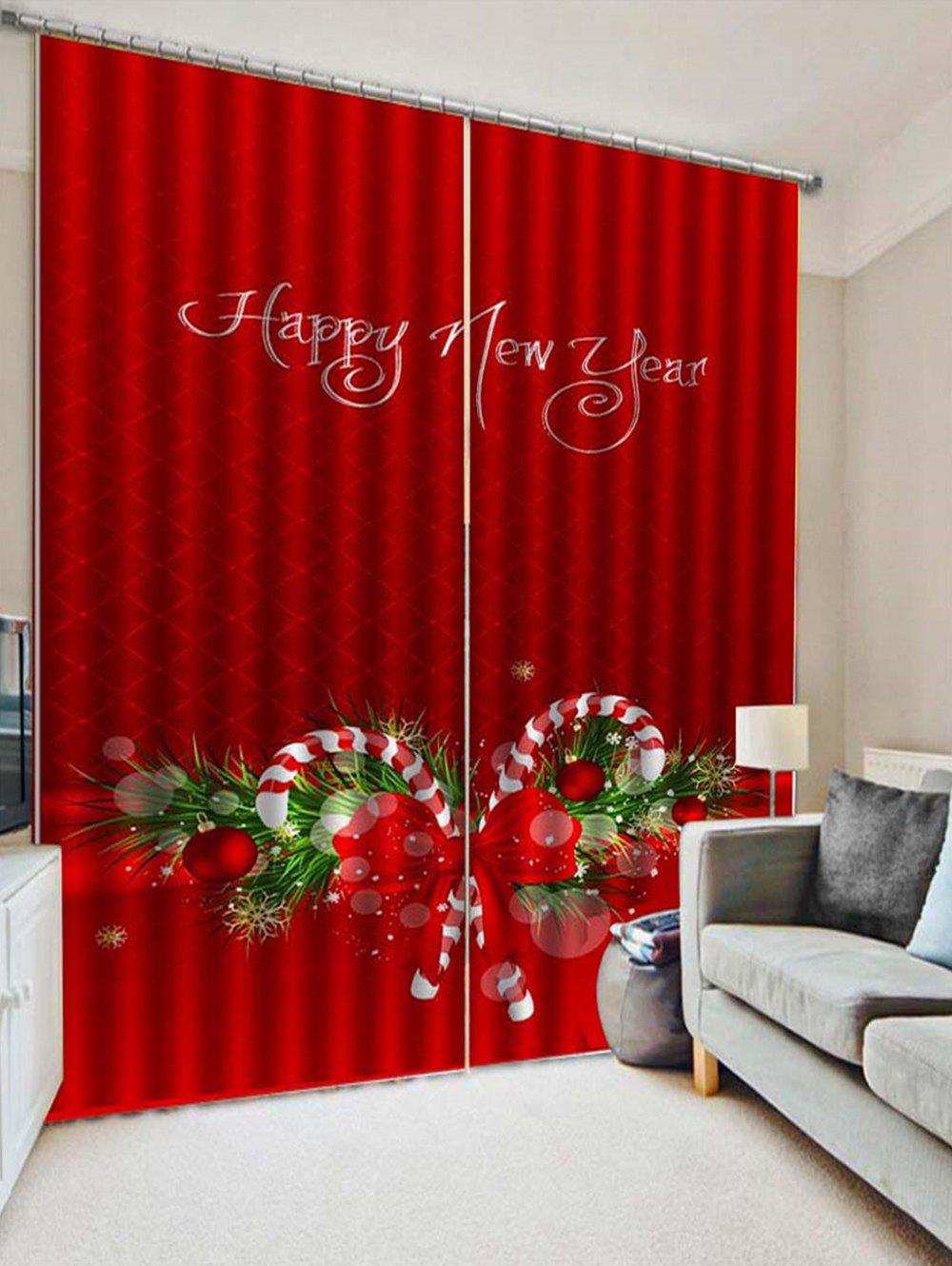 Cheap 2PCS Christmas Candy Cane Printed Window Curtains