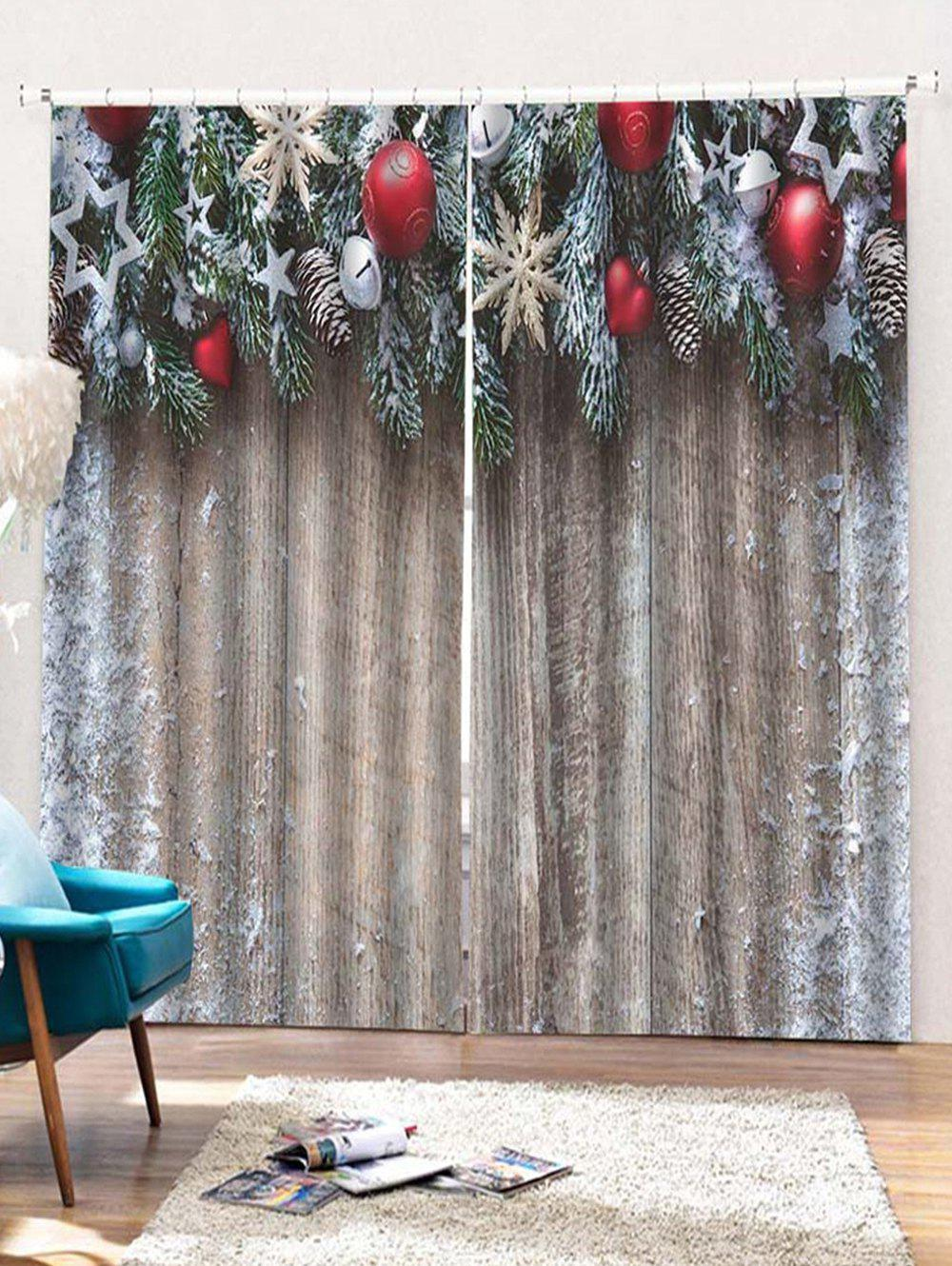 Best 2PCS Christmas Wooden Star Printed Window Curtains