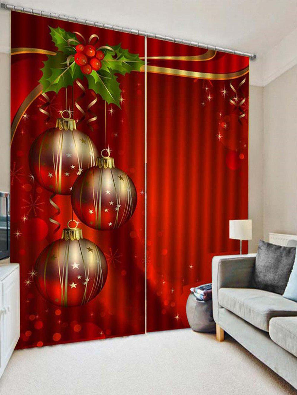 Online 2PCS Christmas Ball Leaf Printed Window Curtains