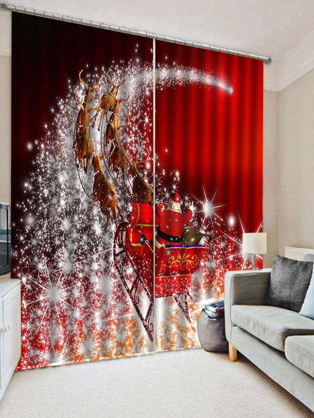 Best 2PCS Father Christmas Deer Printed Window Curtains