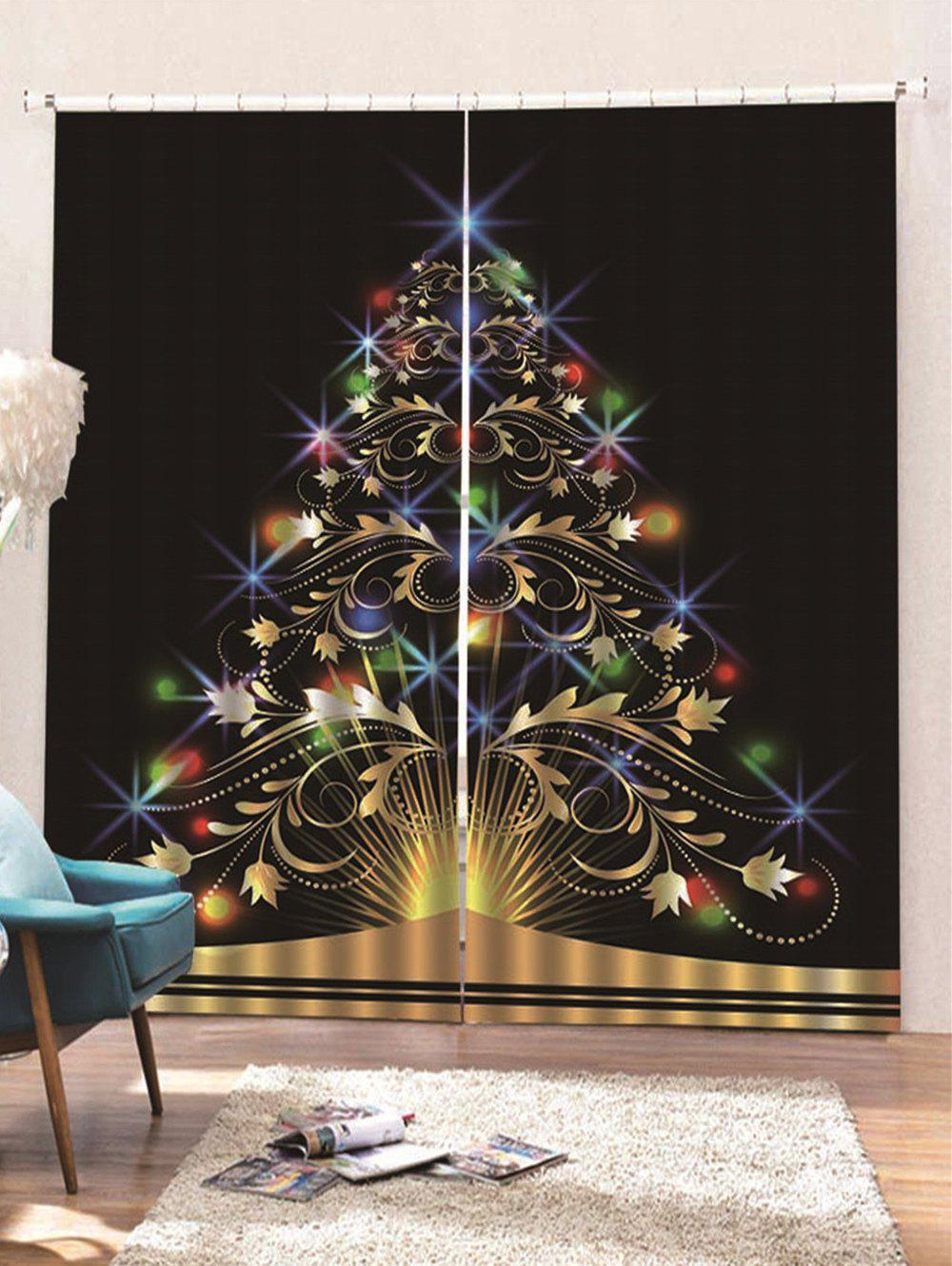 Shops 2PCS Christmas Tree Printed Window Curtains