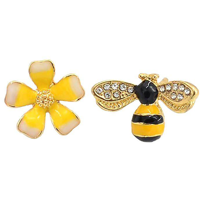 Trendy Korean Personality Temperament Asymmetric Flower Bee Stud Simple Female Elf Earrings