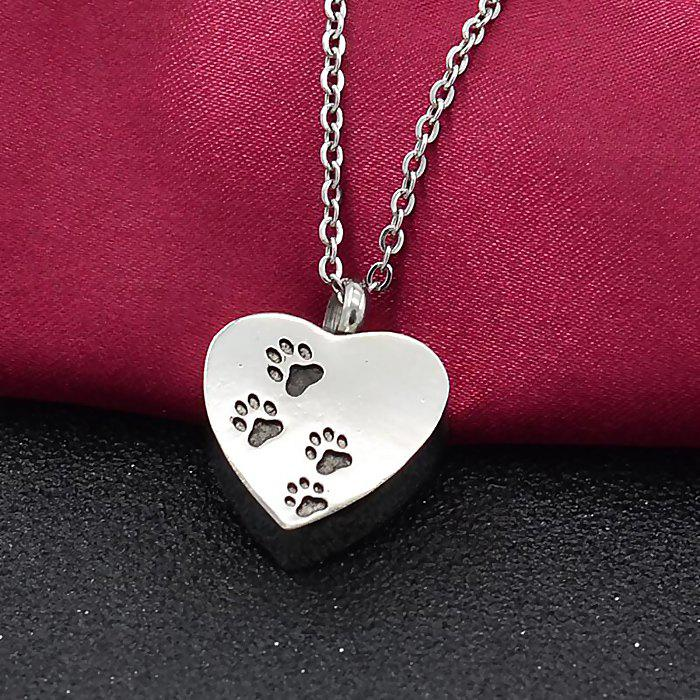 Cheap Heart-shaped Pet Dog Claw Footprints Urn Box Necklace Commemorate Loved Hair Pendant