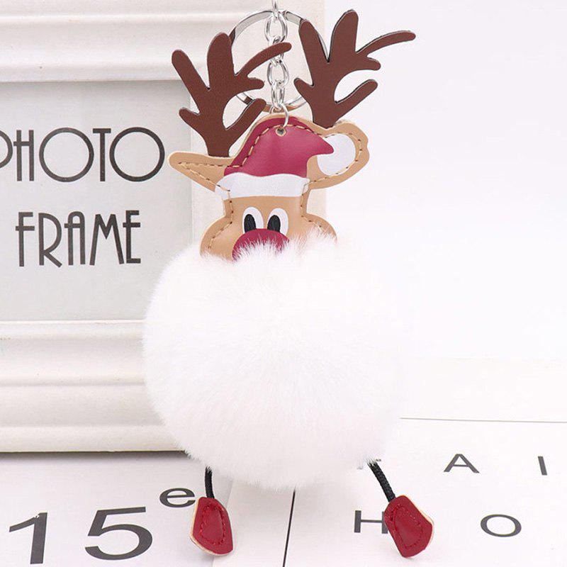 Sale Christmas Moose Hair Ball Key Ring Pendant