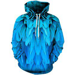 Winter Men's  Digital Print Blue Feather Long Sleeve Sweatshirt -