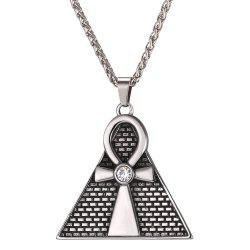 GP2571 Stainless Steel Triangle Egyptian Pendant Necklace -