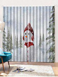 2PCS Christmas Snowman Printed Window Curtains -