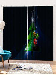 2PCS Christmas Tree Ball Printed Window Curtains -