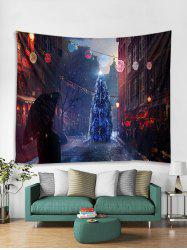 Christmas Tree Street Print Tapestry Wall Hanging Decoration -