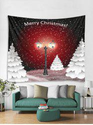 Christmas Snowy Night Trees Print Tapestry Wall Hanging Decoration -