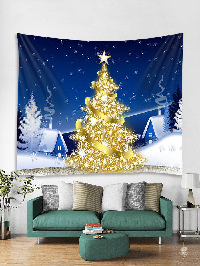 Cheap Christmas Village Tree Print Tapestry Wall Hanging Decoration