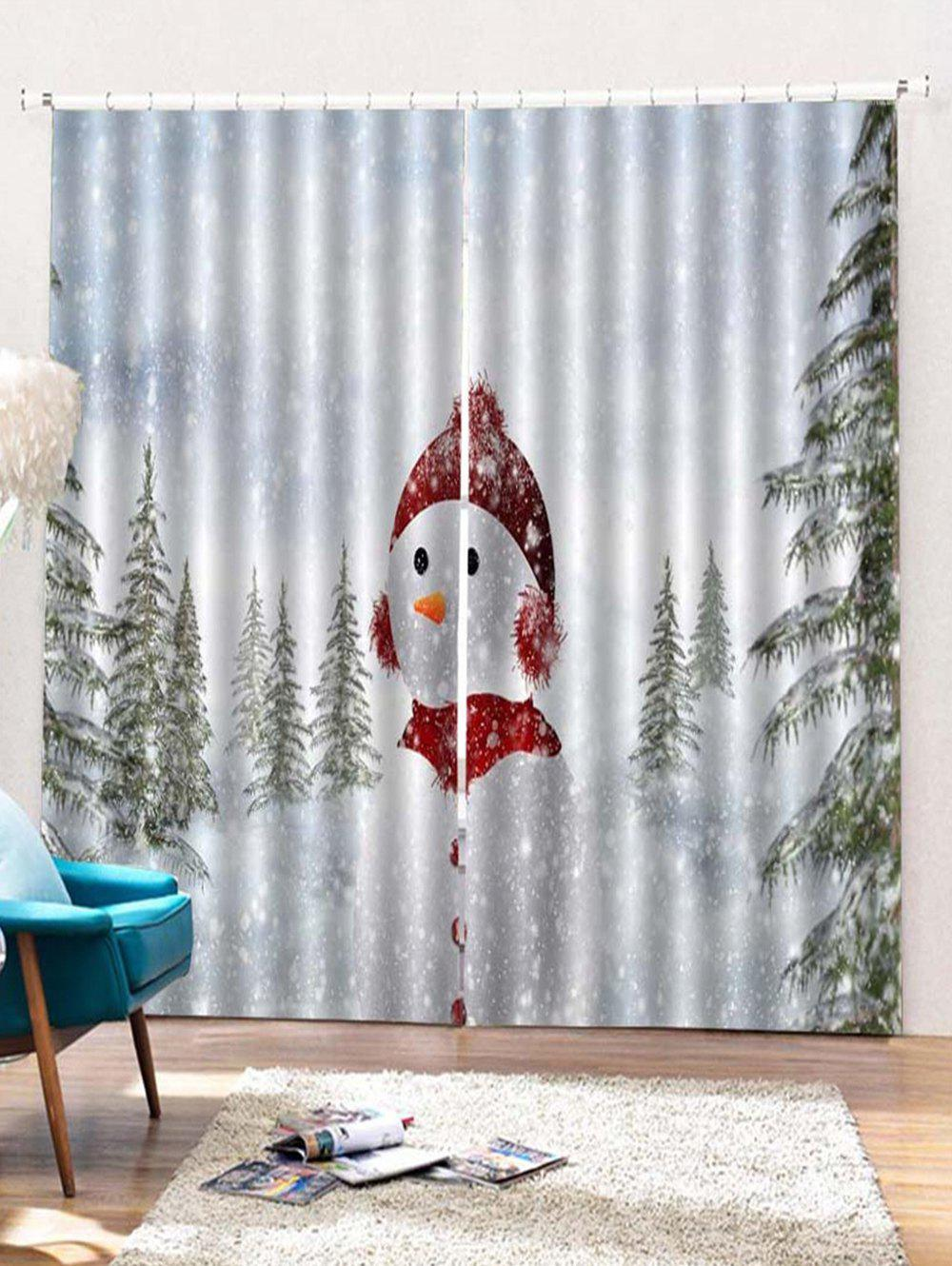 Best 2PCS Christmas Snowman Printed Window Curtains