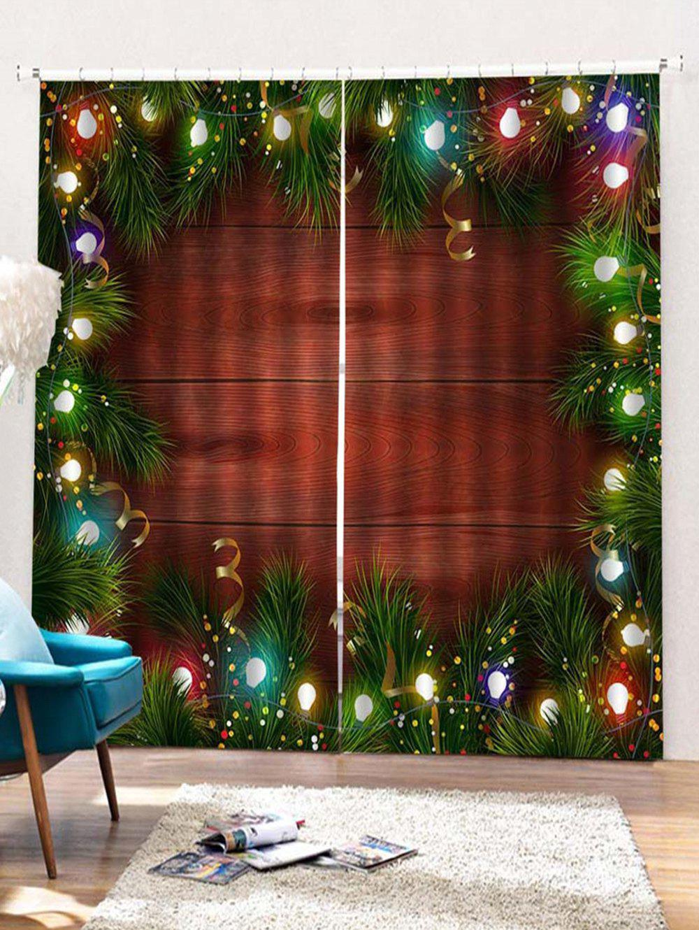 Outfits 2PCS Christmas Decor Wooden Pattern Window Curtains
