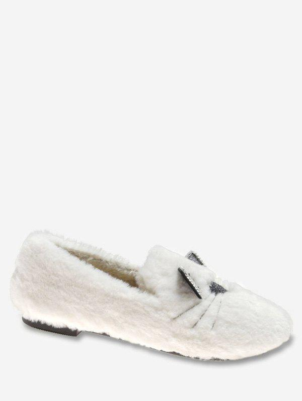 Sale Kitty Print Faux Fur Loafers Flats