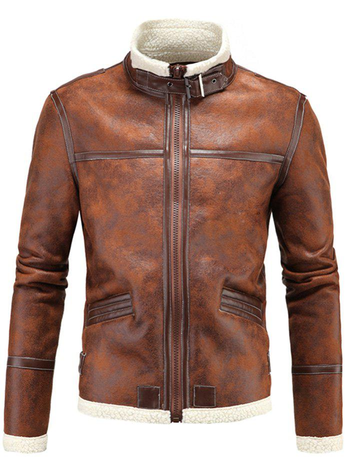 Hot Winter Thick Warm Stand Collar Men Leather Jacket
