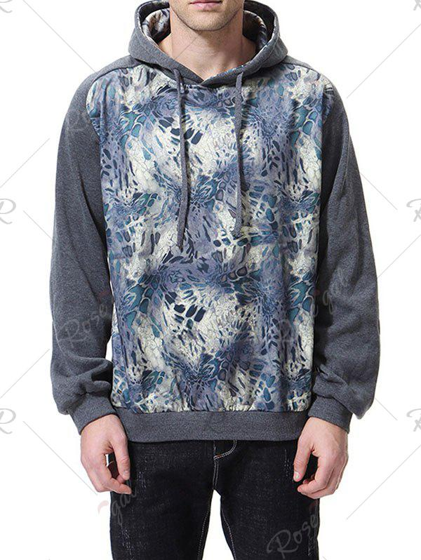 0b74b246a04 British Fashion Print Colorblock Hooded Large Size Sweater Men Jacket - Light  Gray - M
