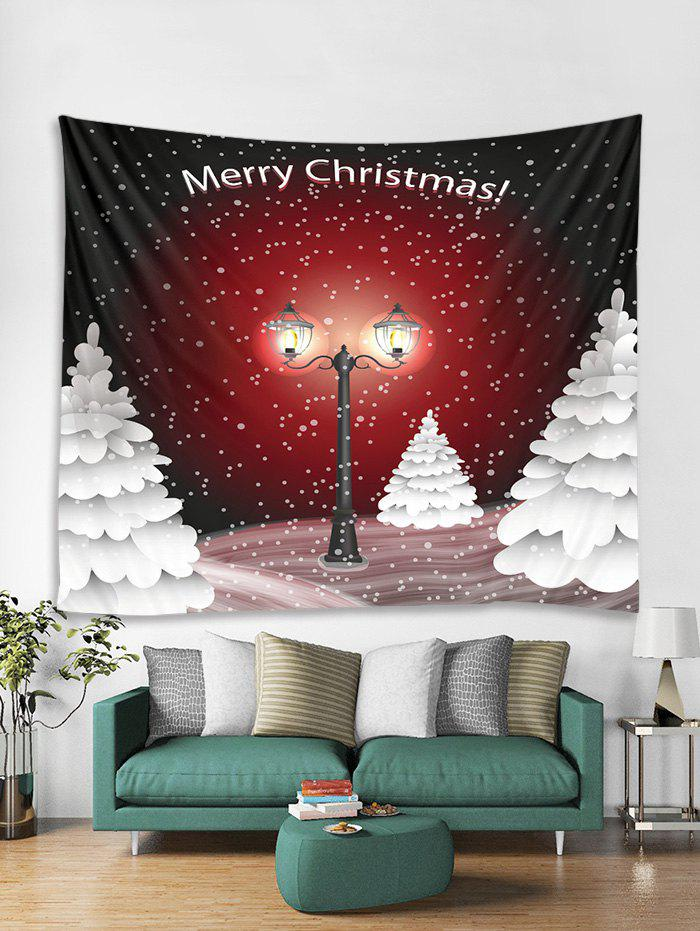 Fancy Christmas Snowy Night Trees Print Tapestry Wall Hanging Decoration
