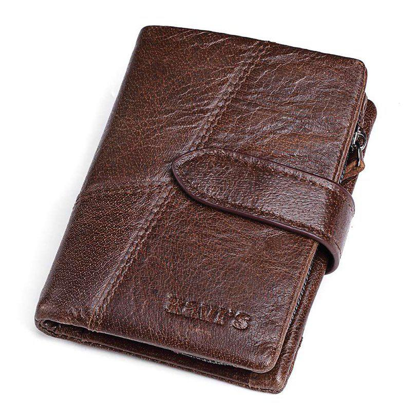 61721a9a7950 2019 Kavis Men Leather Short Wallet Zip Coin Purse Stitching Bag ...
