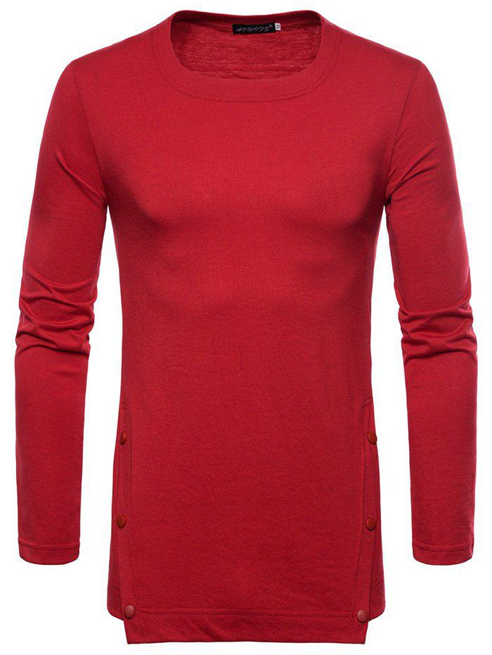 Outfits Men Casual Bottoming Shirt Solid Color Long-sleeved T-shirt