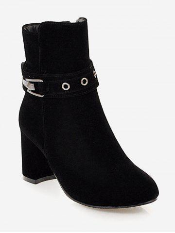 Plus Size Buckle Strap Heeled Ankle Boots