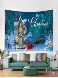 Christmas Night Castle Print Tapestry Wall Hanging Decor -