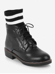 Plus Size Striped Lacing Short Boots -