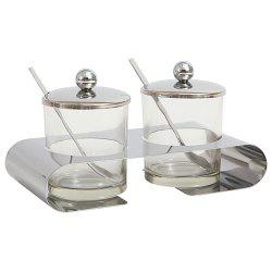 Stainless Steel Glass Double Can Seasoning Tank With Small Spoon Kitchen Utensils Cruet -