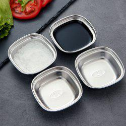 Stainless Steel 1 Grain Sauce Dish Square Small Grid Sauce Dish 4pcs -