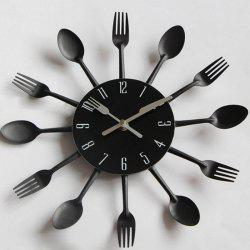 Creative Stainless Steel Knife Fork Wall Clock -