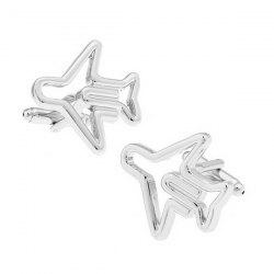 Cufflinks Foreign Trade Cufflinks Wholesale Silver Hollow Aircraft Shape -