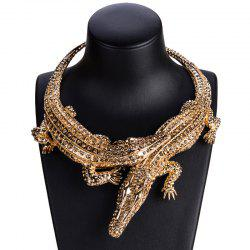Exaggerated Big Crocodile Diamond Necklace -