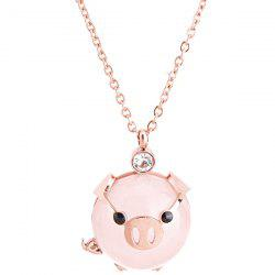 Rich Pig Clavicle Chain Cute Animal Pink Pig Necklace Titanium Steel Jewelry -
